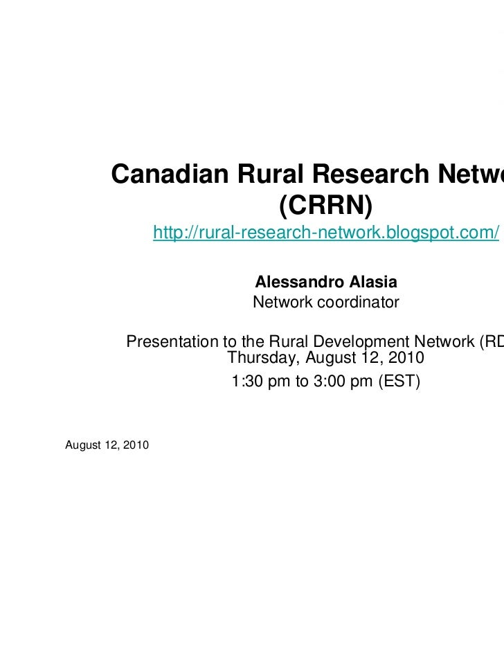 Canadian Rural Research Network                    (CRRN)                  http://rural-research-network.blogspot.com/    ...