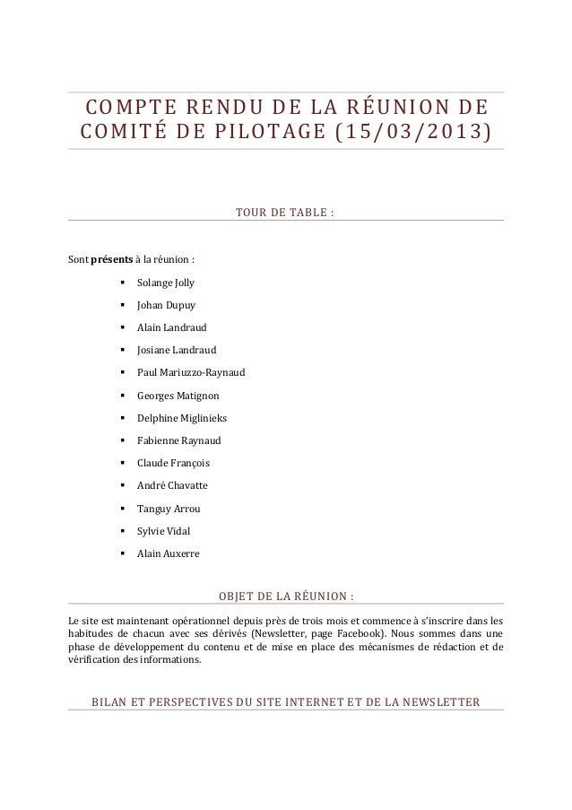 COMPTE RENDU DE LA RÉUNION DE  COMITÉ DE PILOTAGE (15/03/2013)                                     TOUR DE TABLE :Sont pré...
