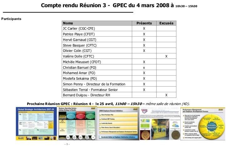 Compte rendu Réunion 3 - GPEC du 4 mars 2008 à 10h30 – 15h30Participants                                   Noms           ...