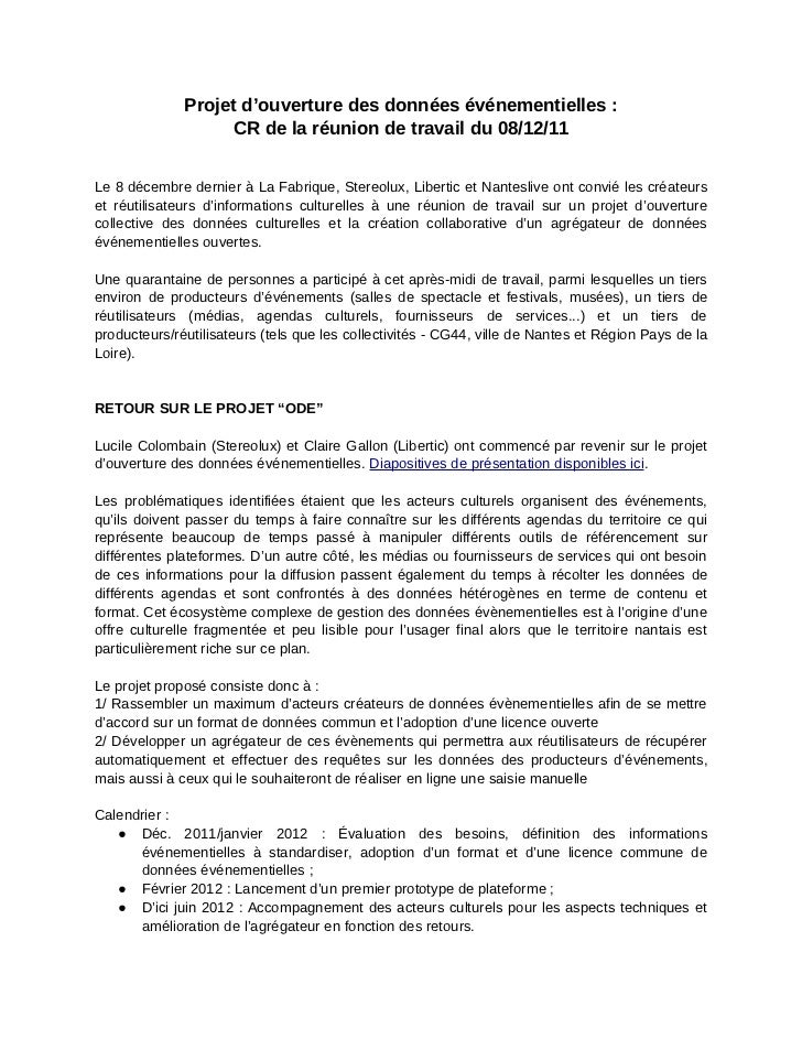 Projet d'ouverture des données événementielles :                    CR de la réunion de travail du 08/12/11Le 8 décembre d...
