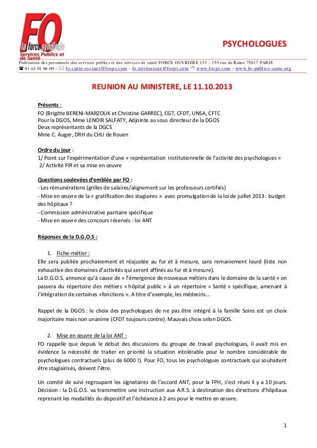 PSYCHOLOGUES Fédération des personnels des services publics et des services de santé FORCE OUVRIERE 153 - 155 rue de Rome ...