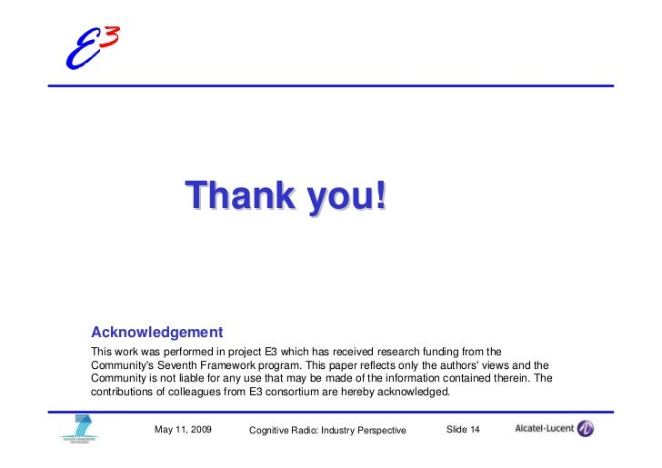 E3                       Thank you!    Acknowledgement  This work was performed in project E3 which has received research ...