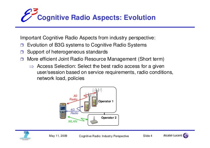 E3Cognitive Radio Aspects: Evolution Important Cognitive Radio Aspects from industry perspective:   Evolution of B3G syste...