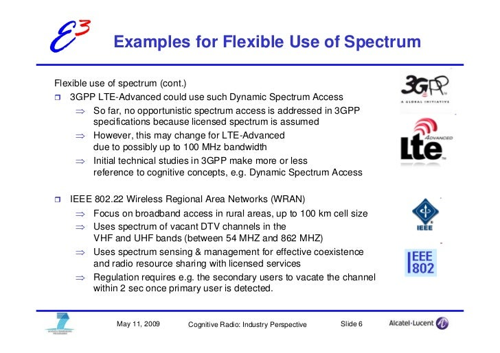 E3           Examples for Flexible Use of Spectrum  Flexible use of spectrum (cont.)     3GPP LTE-Advanced could use such ...