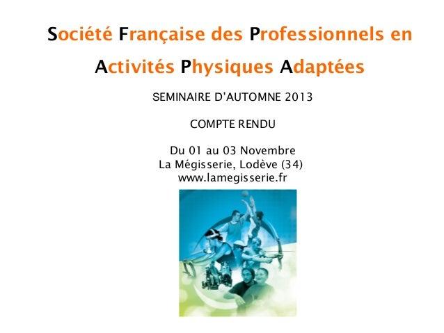 Société Française des Professionnels en Activités Physiques Adaptées SEMINAIRE D'AUTOMNE 2013 COMPTE RENDU Du 01 au 03 Nov...