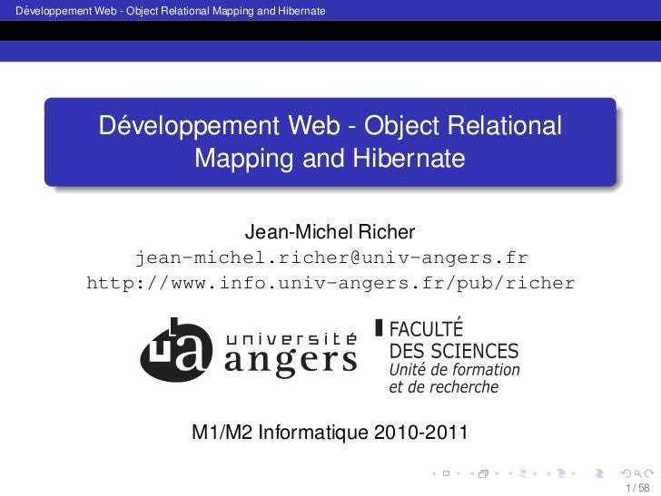 ´Developpement Web - Object Relational Mapping and Hibernate                ´               Developpement Web - Object Rel...