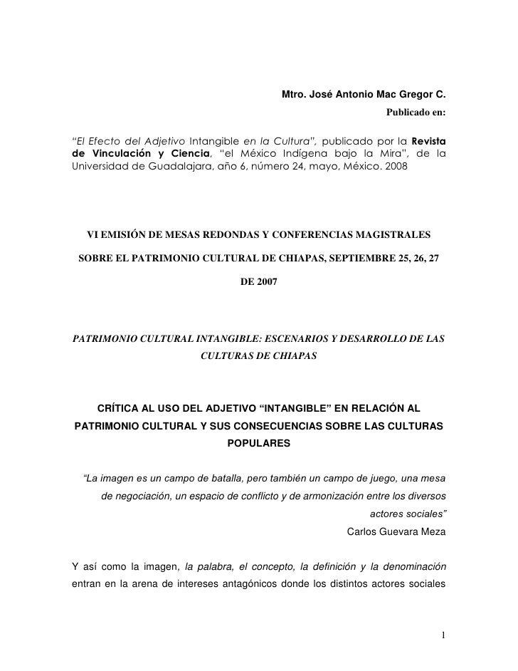 """Mtro. José Antonio Mac Gregor C.                                                                    Publicado en:""""El Efect..."""
