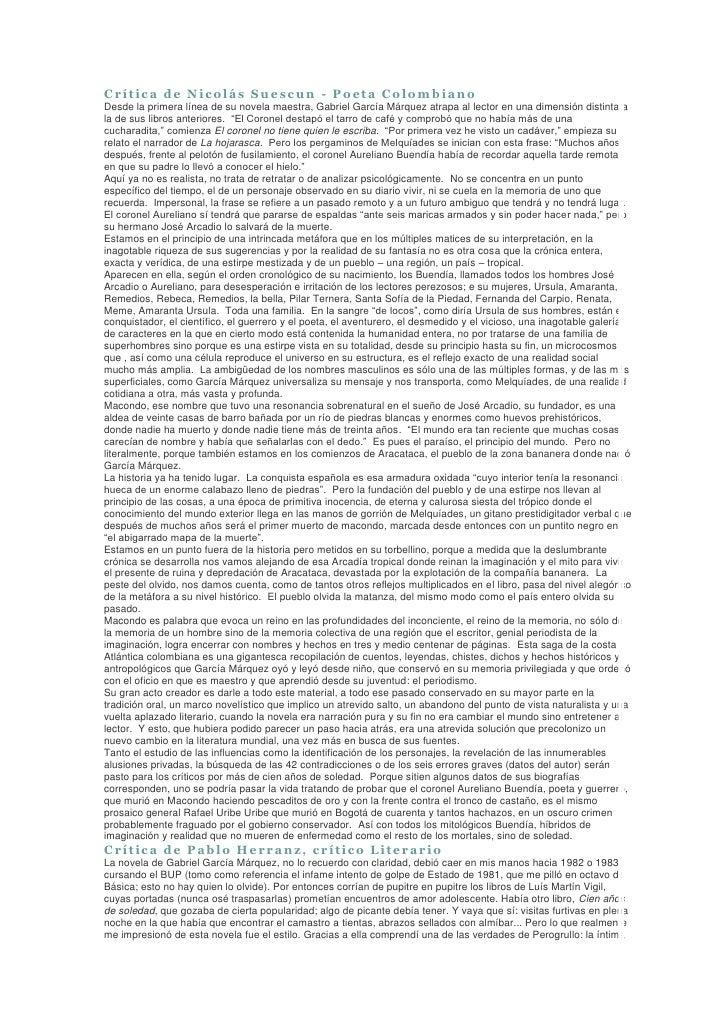 Crítica de Nicolás Suescun - Poeta Colombiano Desde la primera línea de su novela maestra, Gabriel García Márquez atrapa a...
