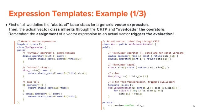 ... 12. Expression Templates: ...