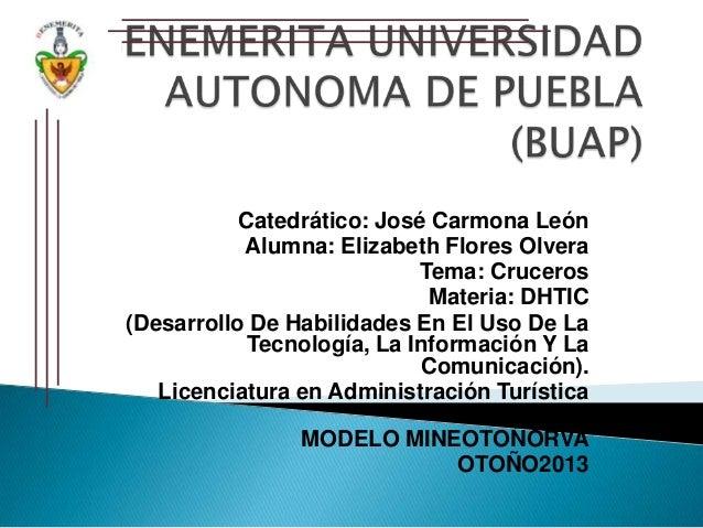 Catedrático: José Carmona León Alumna: Elizabeth Flores Olvera Tema: Cruceros Materia: DHTIC (Desarrollo De Habilidades En...