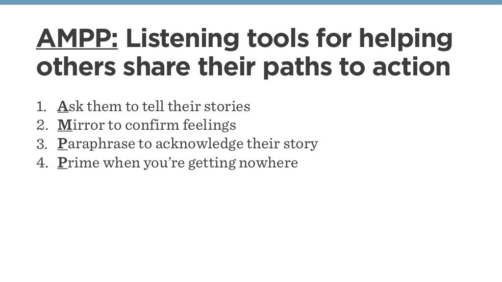 AMPP: Listening tools for helping