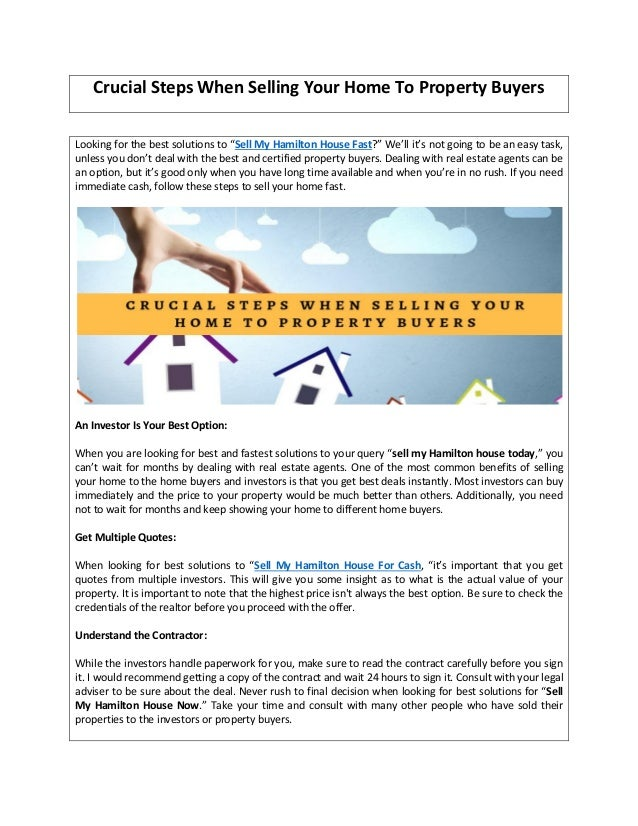 Crucial steps when selling your home to property buyers