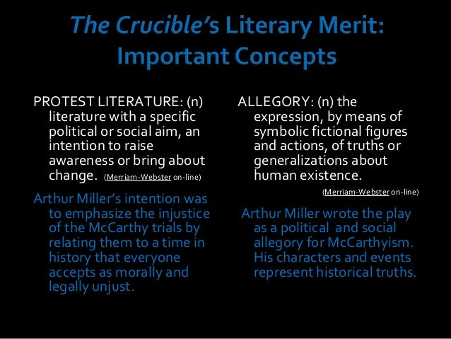mccarthyism vs the crucible In studying the crucible, you will inevitably be faced with questions about the play's connections to the red scare of the 1950s and the phenomenon known as mccarthyism these connections are important because they demonstrate that the crucible is not merely a (highly adapted) retelling of.