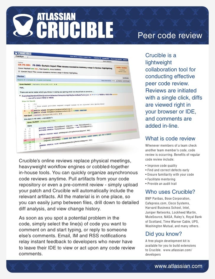 Peer code review                                                             Crucible is a                                ...