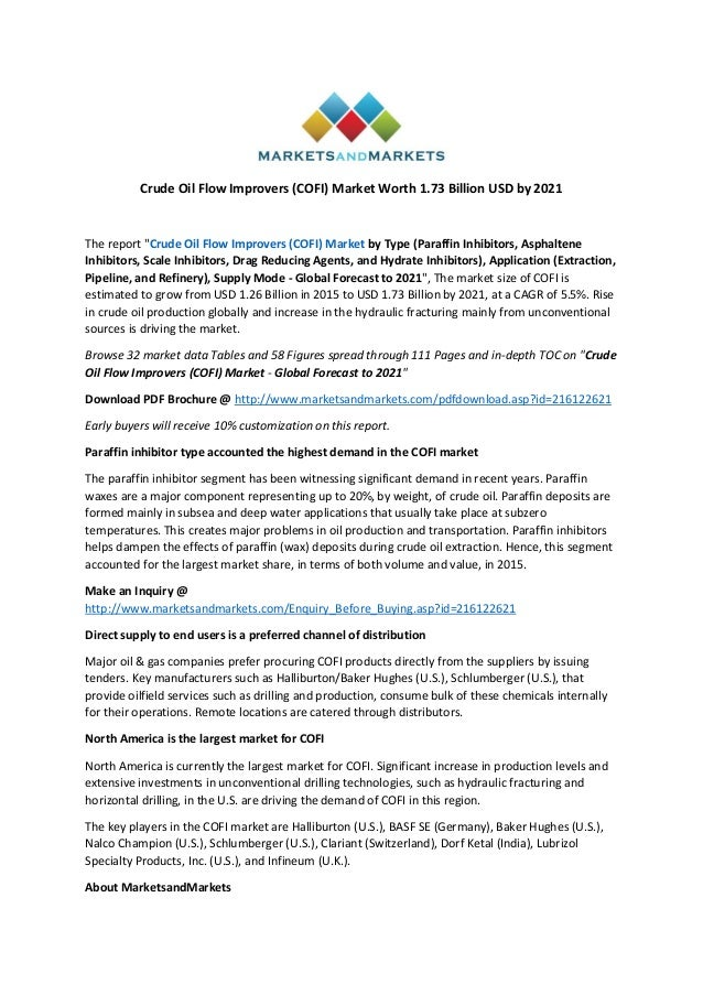 Crude Oil Flow Improvers (COFI) Market worth 1 73 Billion
