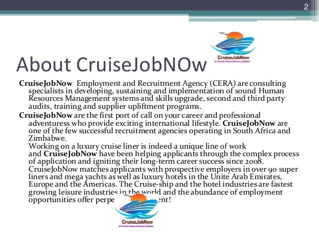 Cruise Job Now Slide Show - Recruitment agencies for cruise ships in south africa