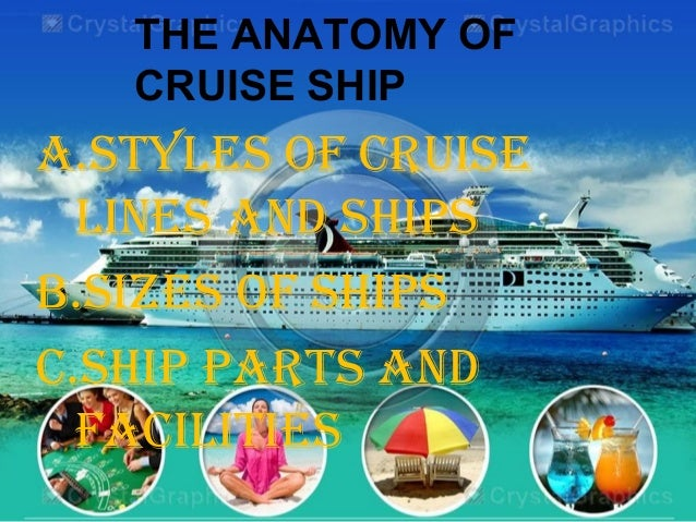 THE ANATOMY OF CRUISE SHIP A.STYLES OF CRUISE LINES AND SHIPS B.SIZES OF SHIPS C.SHIP PARTS AND FACILITIES