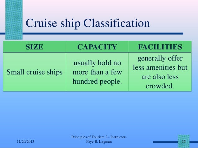 Cruise ship Classification SIZE  CAPACITY  Small cruise ships  usually hold no more than a few hundred people.  11/20/2013...