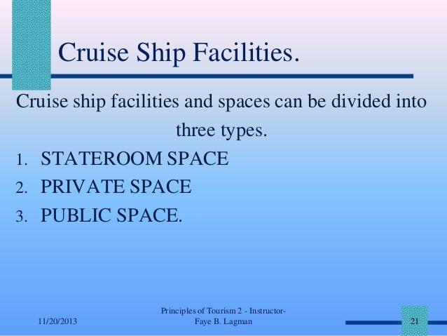 Cruise Ship Facilities. Cruise ship facilities and spaces can be divided into three types. 1. STATEROOM SPACE 2. PRIVATE S...