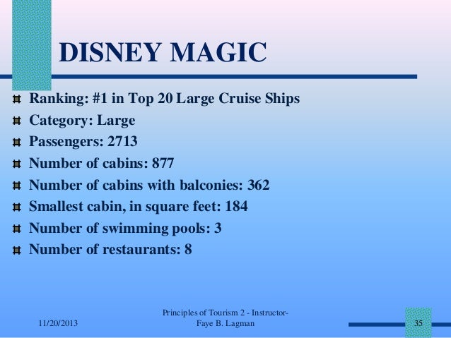 DISNEY MAGIC Ranking: #1 in Top 20 Large Cruise Ships Category: Large Passengers: 2713 Number of cabins: 877 Number of cab...