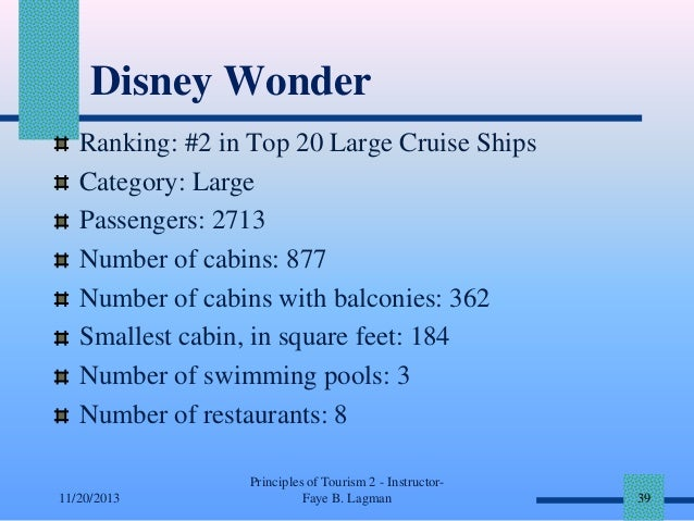 Disney Wonder Ranking: #2 in Top 20 Large Cruise Ships Category: Large Passengers: 2713 Number of cabins: 877 Number of ca...