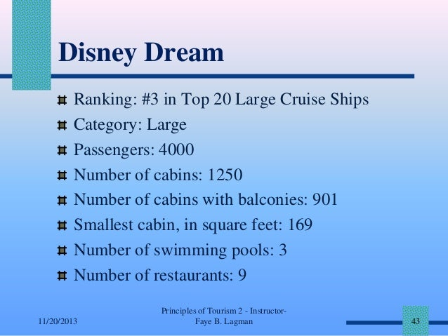 Disney Dream Ranking: #3 in Top 20 Large Cruise Ships Category: Large Passengers: 4000 Number of cabins: 1250 Number of ca...