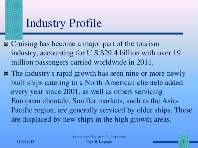 Industry Profile Cruising has become a major part of the tourism industry, accounting for U.S.$29.4 billion with over 19 m...