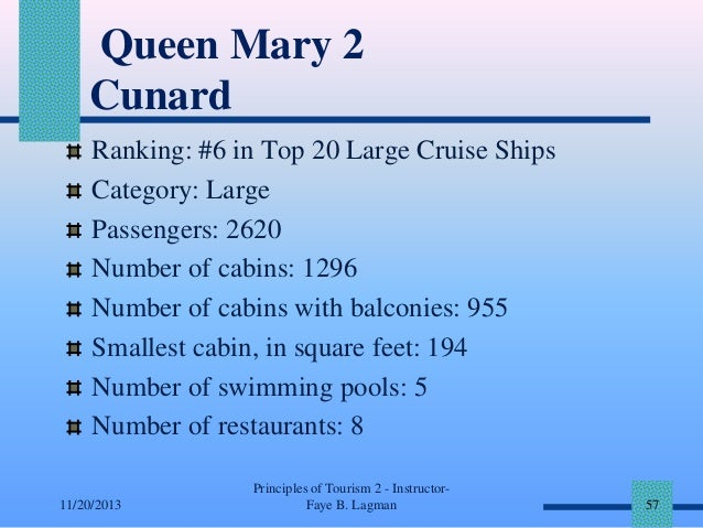 Queen Mary 2 Cunard Ranking: #6 in Top 20 Large Cruise Ships Category: Large Passengers: 2620 Number of cabins: 1296 Numbe...