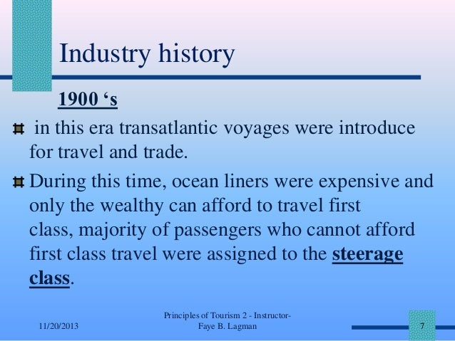 Industry history 1900 's in this era transatlantic voyages were introduce for travel and trade. During this time, ocean li...