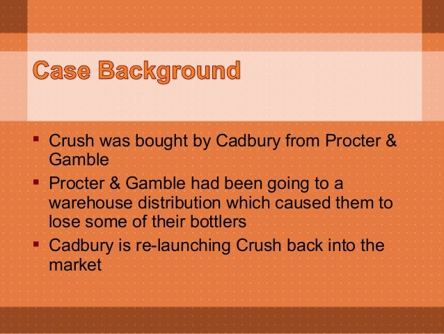 cadbury beverages inc crush brand Cadbury beverages, inc: crush brand 1 based on your assessment of the soft drink industry, the orange-flavored category, and the competitive situation of cadbury beverages and orange.