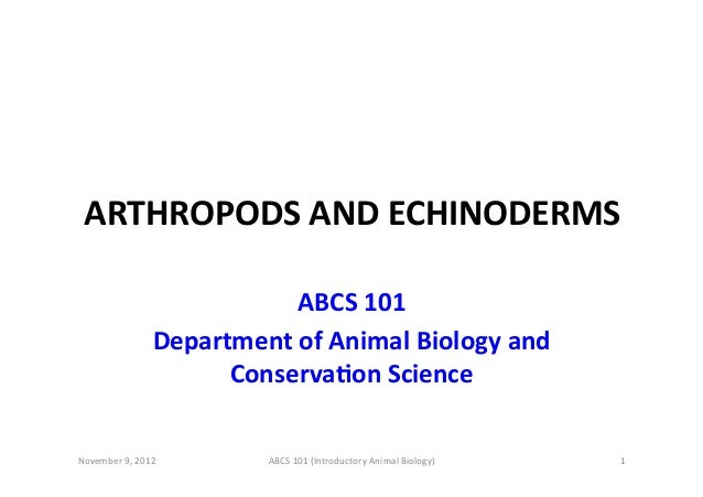 ARTHROPODS  AND  ECHINODERMS   ABCS  101   Department  of  Animal  Biology  and   ConservaBon  Scien...