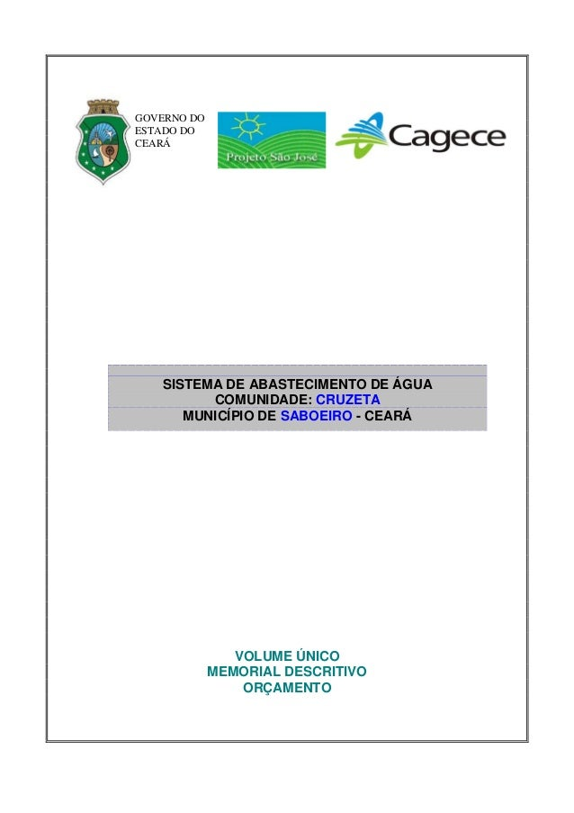 GOVERNO DOESTADO DOCEARÁ   SISTEMA DE ABASTECIMENTO DE ÁGUA         COMUNIDADE: CRUZETA      MUNICÍPIO DE SABOEIRO - CEARÁ...