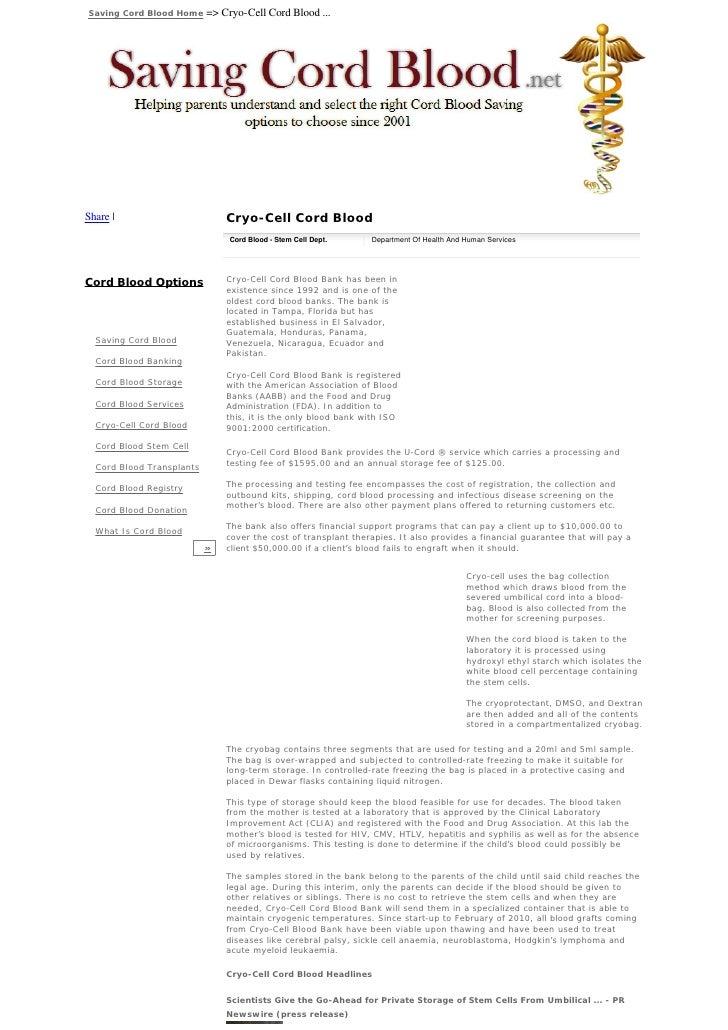 Saving Cord Blood Home     => Cryo-Cell Cord Blood ...     Share                          Cryo-Cell Cord Blood            ...