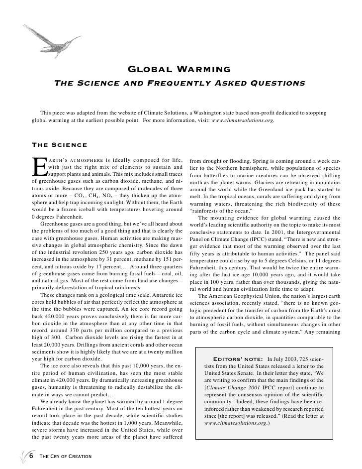 global warming essay questions