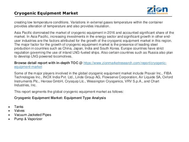 Global Cryogenic Equipment Market Set for Rapid Growth, to