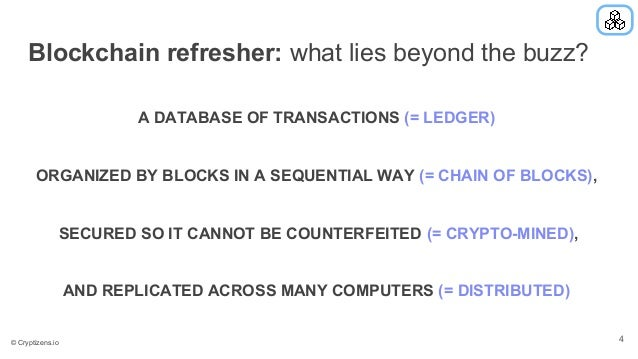 Blockchain refresher: what lies beyond the buzz? A DATABASE OF TRANSACTIONS (= LEDGER) ORGANIZED BY BLOCKS IN A SEQUENTIAL...