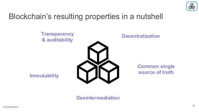 Blockchain's resulting properties in a nutshell Transparency & auditability Immutability Decentralization Common single so...