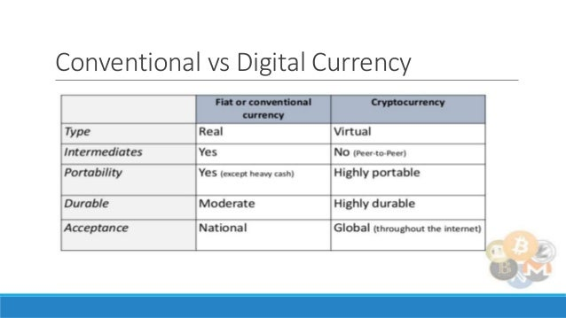Cryptocurrency vs regular currency