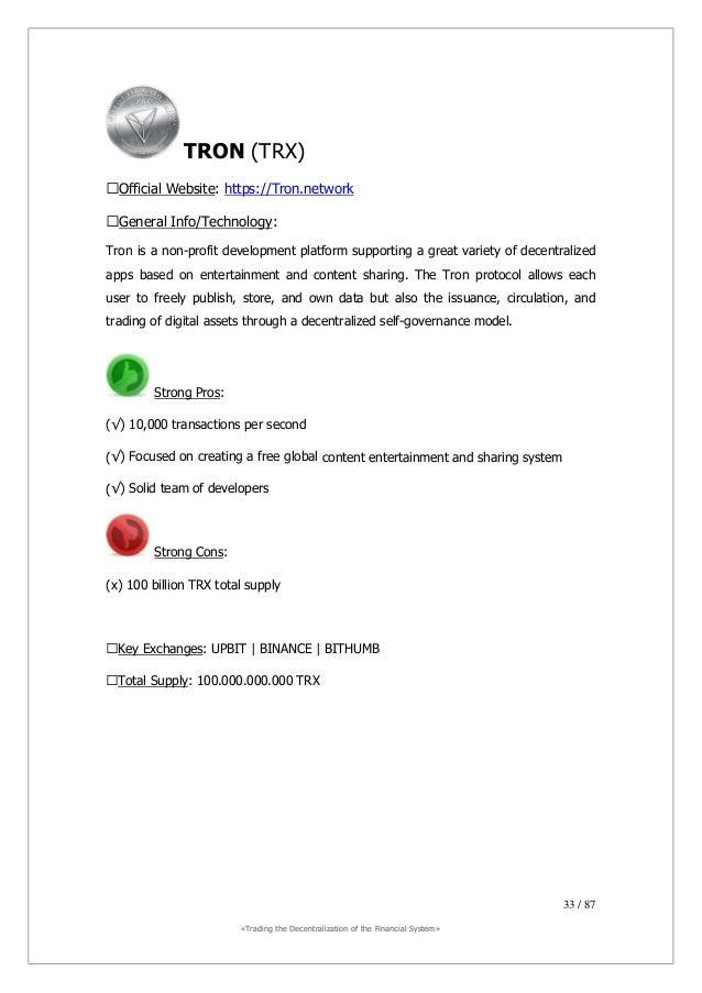 ««TTrraaddiinngg tthhee DDeecceennttrraalliizzaattiioonn ooff tthhee FFiinnaanncciiaall SSyysstteemm»» 34 / 87 Bitcoin (BT...