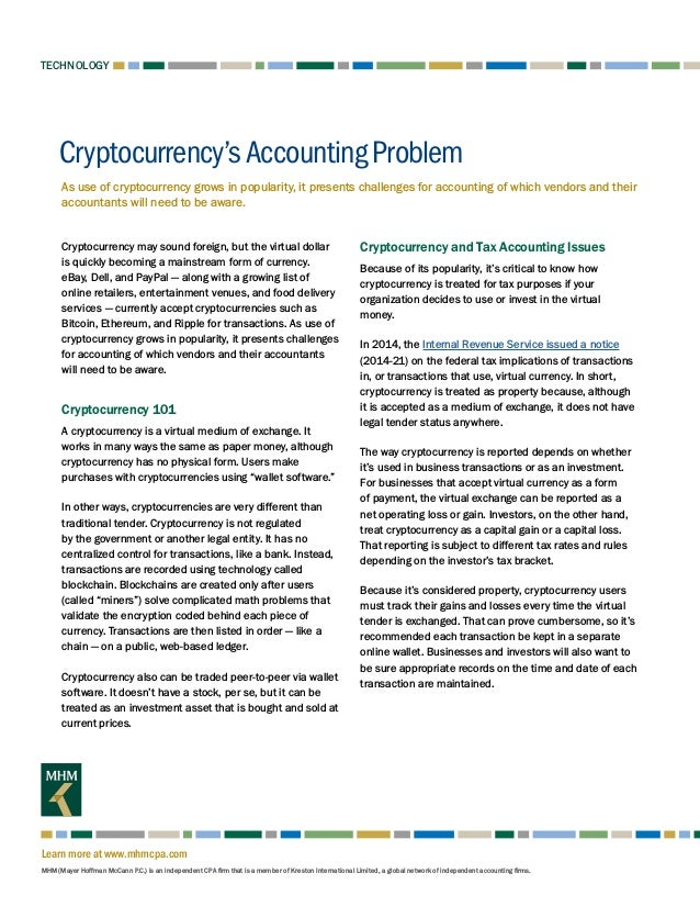 Cryptocurrency's Accounting Problem