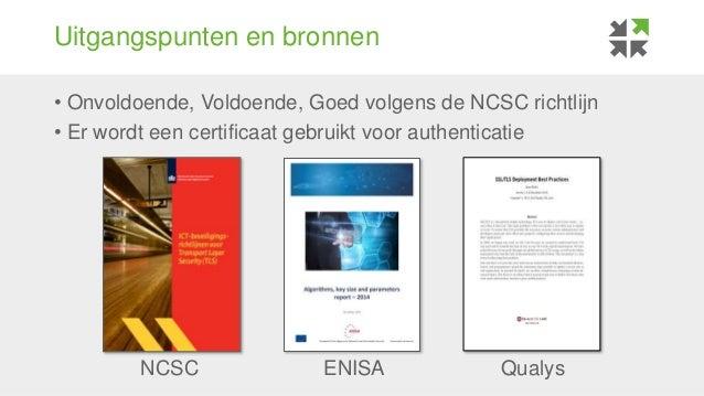 Uitgangspunten en bronnen • Onvoldoende, Voldoende, Goed volgens de NCSC richtlijn • Er wordt een certificaat gebruikt voo...