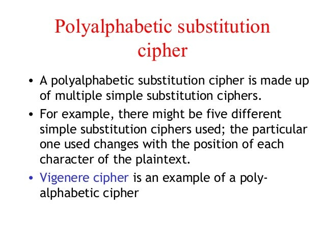 polyalphabetic substitution cipher example pdf
