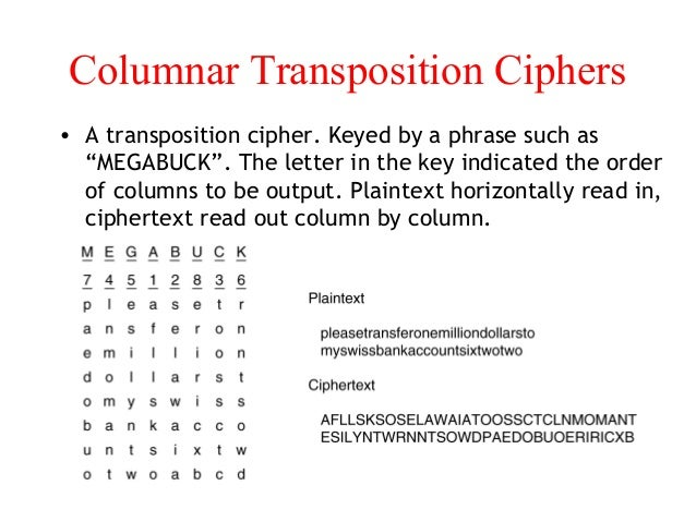 columnar transposition cipher Columnar transposition cipher while i have plenty of programs i have written for more advanced ciphers, i just realised i don't actually have one for one of the simplest: columnar transposition the.