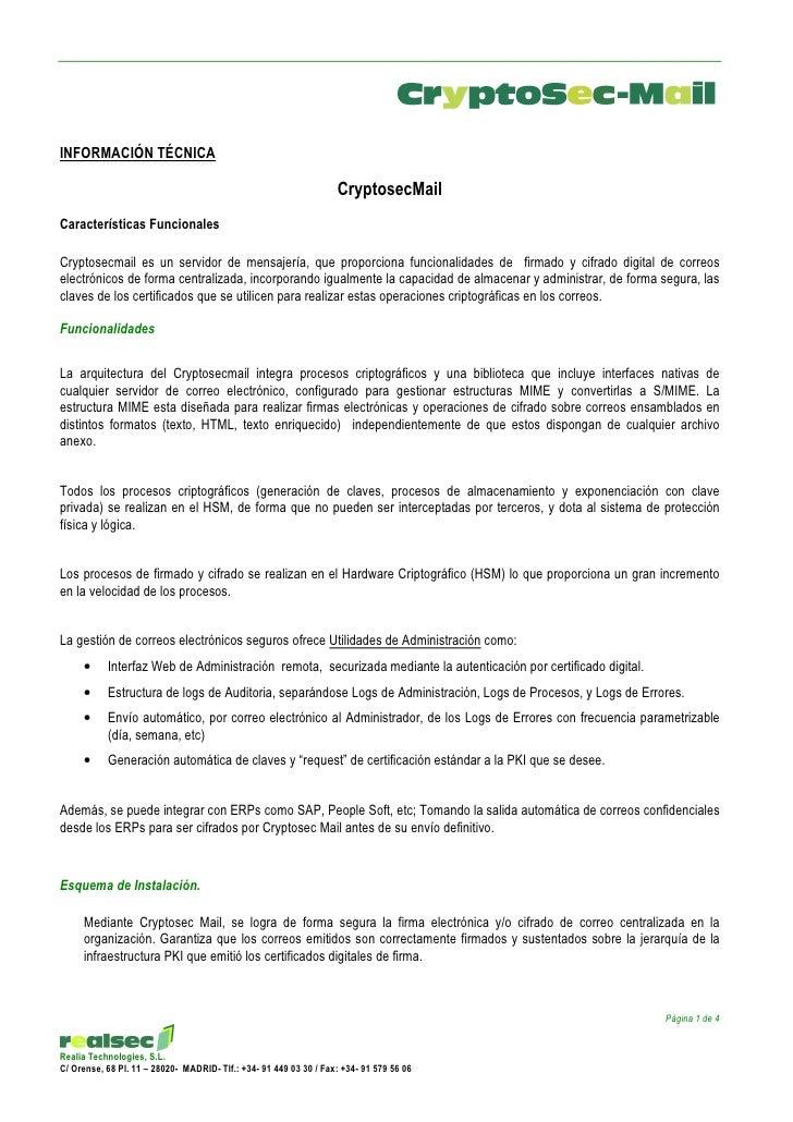 INFORMACIÓN TÉCNICA                                                                     CryptosecMail Características Func...