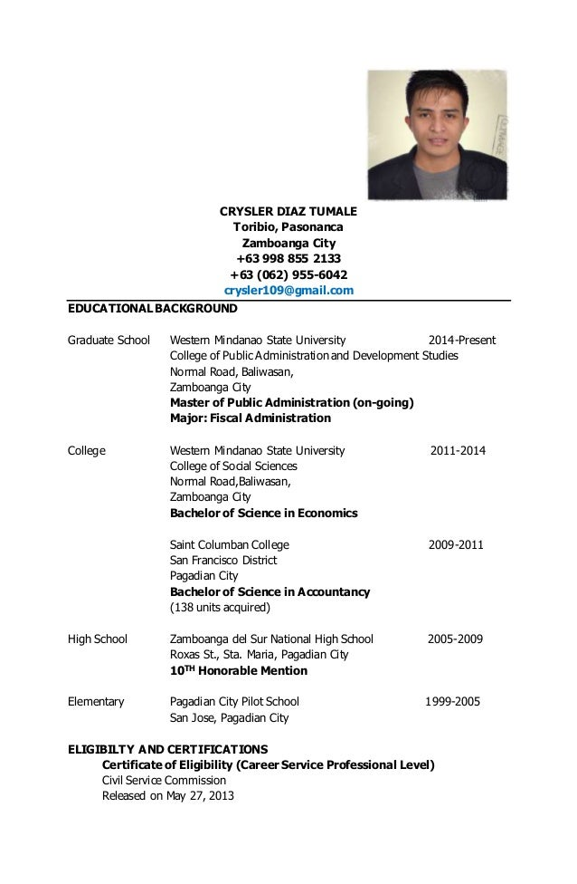 crysler tumale curriculum vitae for funix
