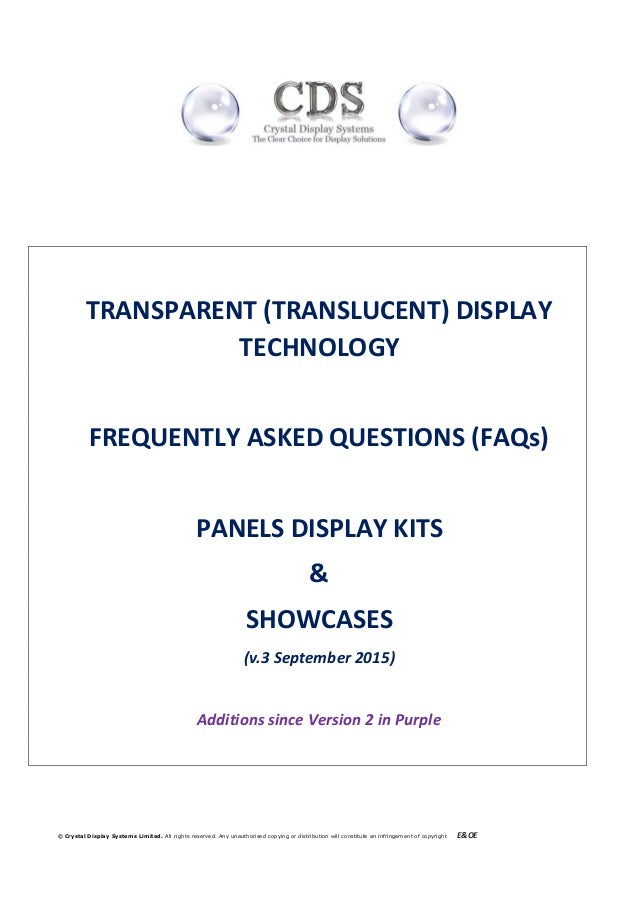 © Crystal Display Systems Limited. All rights reserved. Any unauthorised copying or distribution will constitute an infrin...