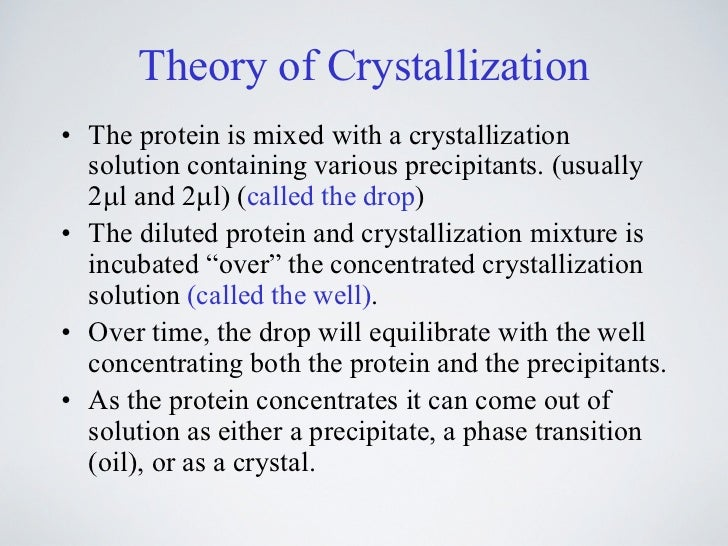 crystallization lab Solutions more concentrated than their limit will tend to crystallize until the  residual solution is back at the saturation limit crystal formation requires the  formation.