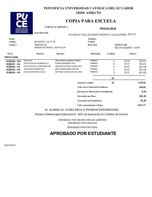 COPIA PARA ESCUELA Docente ESTUDIANTE GUAMAN VILLAFUERTE MONICA ALEXANDRA PSICOLOGIA UNIDAD ACADÉMICA 26/12/2013 22:17:25 ...