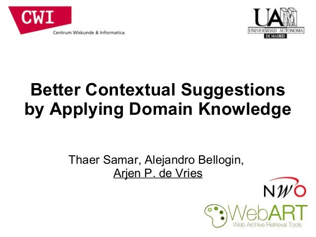 Better Contextual Suggestions  by Applying Domain Knowledge  Thaer Samar, Alejandro Bellogin,  Arjen P. de Vries