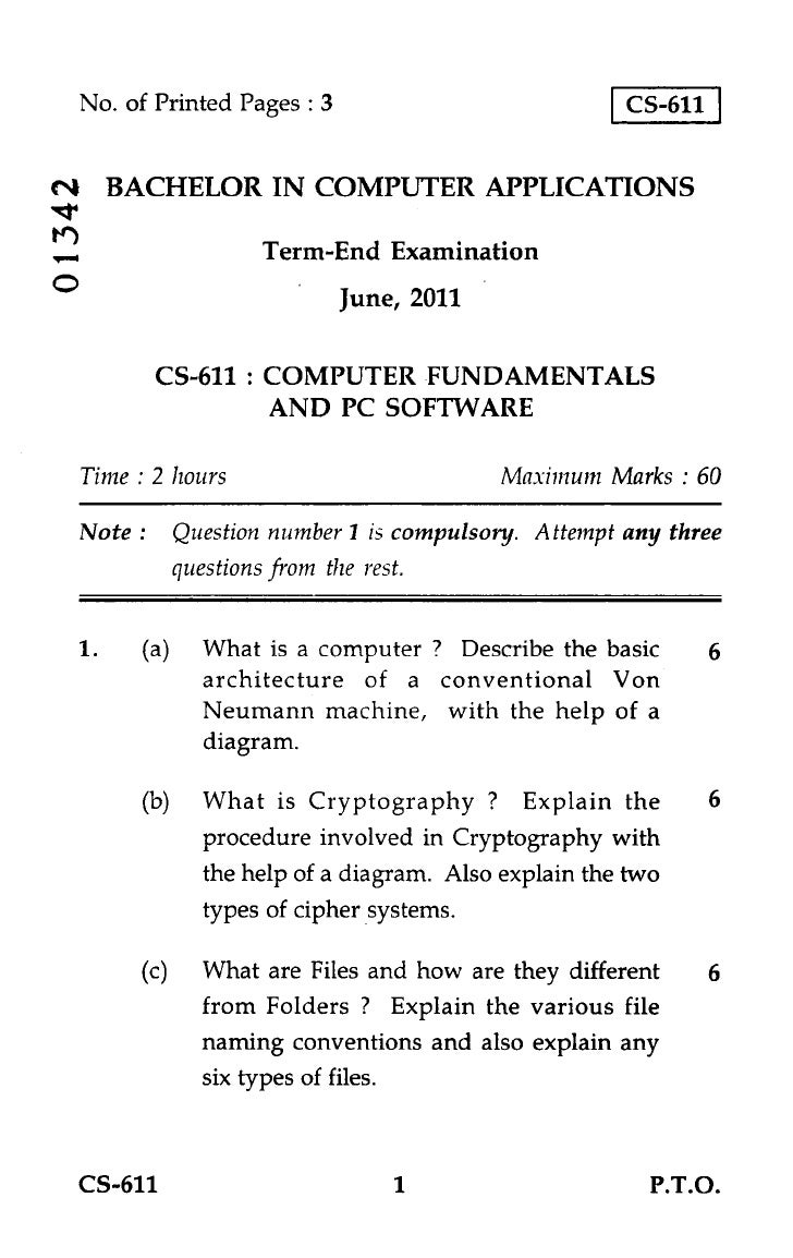 No. of Printed Pages : 3                           CS-611CN4 BACHELOR IN COMPUTER APPLICATIONS*.trtr)            Term-End ...